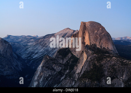 Half Dome at Dusk from Glacier Point, Yosemite National Park, California - Stock Photo