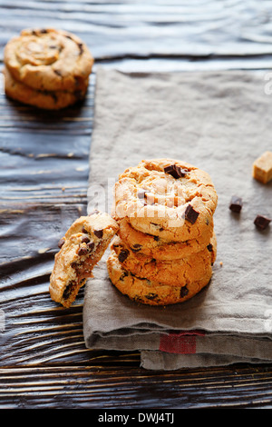 butter cookies with chocolate chips, food closeup - Stock Photo