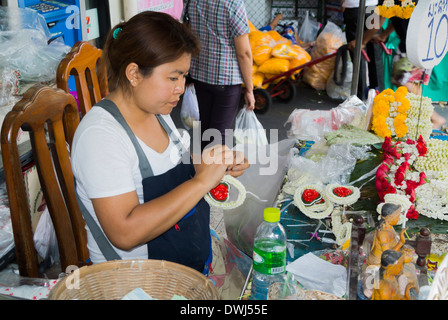 Talat Pak Khlong Flower market in Bangkok - Stock Photo