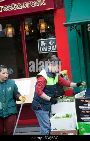 Chinatown Shops and Restaurants on Lisle St in London UK - Stock Photo