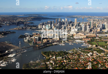 Aerial view of Sydney Harbour looking east across Darling Harbour and the city toward the ocean, Sydney, Australia - Stock Photo