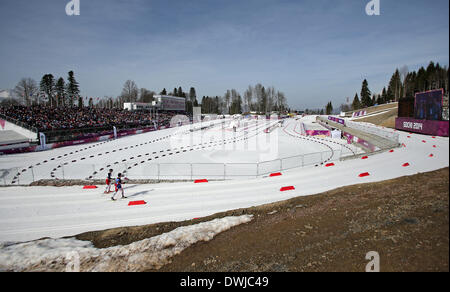 Athletes compete in Men's 20km Standing at Cross-Country event in Laura Cross-country Ski & Biathlon Center at the - Stock Photo