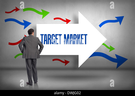 Target market against arrows pointing - Stock Photo