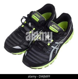 Black and neon green Asics Gel Zaraca 2 running shoes - Stock Photo