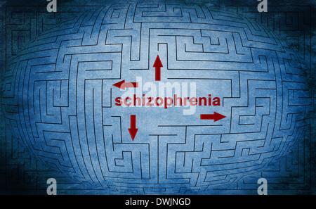 Schizoprenia text in maze - Stock Photo
