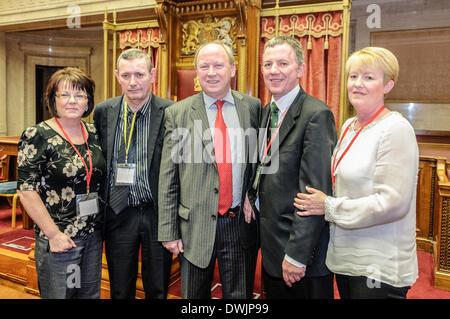 Belfast, Northern Ireland. 10 Mar 2014 - June McMullan, Thomas Boswell, Jim Allister MLA, Grant Nixon and Michelle - Stock Photo