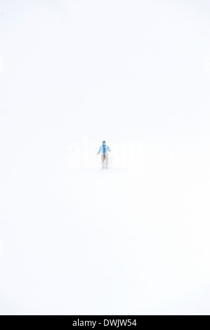 A lonesome skier in whiteout at the Hardangervidda plateau, Norway during Expedition Amundsen 2014. - Stock Photo