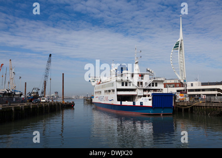 Wightlink ferry St Cecilia moored out of service by the ferry terminal in Old Portsmouth. - Stock Photo