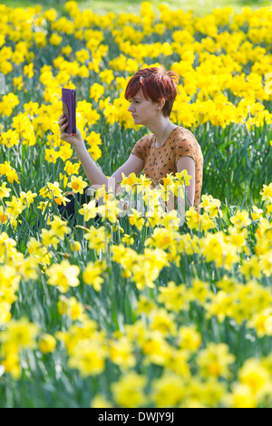 A girl reads an Ebook in the countryside surrounded by daffodils - Stock Photo