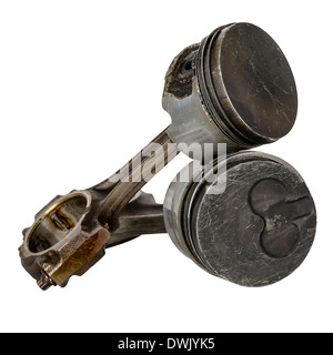 Two worn pistons and two connecting rods - Stock Photo