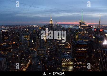 New York City, USA. 09th Mar, 2014. View of the Empire State Building and the skyline from the Rockefeller Center - Stock Photo