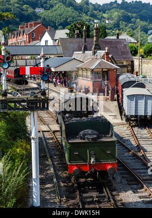 Engine 7822 'Foxcote Manor' steam locomotive at Llangollen railway station, Llangollen, Denbighshire, Wales, UK - Stock Photo