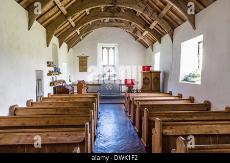 Interior of the Church of the Holy Cross, Mwnt, Ceredigion, Wales, UK - Stock Photo