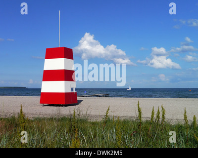 watch tower at the beach of kerteminde, funen, denmark - Stock Photo