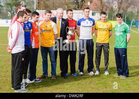 Belfast, Northern Ireland. 10 Mar 2014 - Ulster GAA launch the Cadburys Ulster Under 21 Football Championship. Credit: - Stock Photo