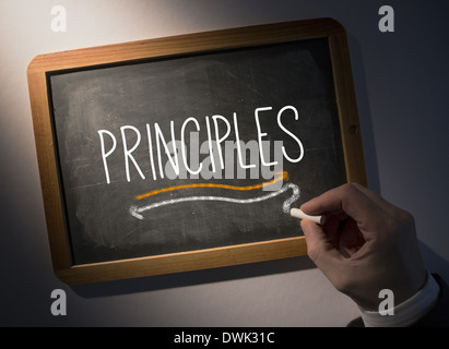 Hand writing Principles on chalkboard - Stock Photo