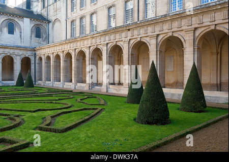 caen abbey cloister gardens, normandy, france - Stock Photo