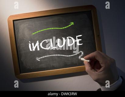 Hand writing Include on chalkboard - Stock Photo