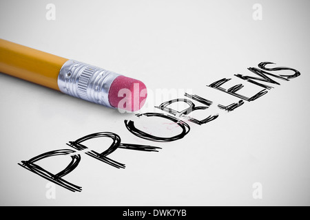 Problems against pencil with an eraser - Stock Photo