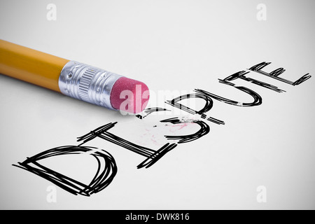 Dispute against pencil with an eraser - Stock Photo