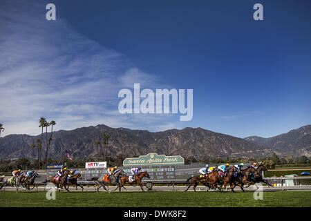 Arcadia, CA, USA. 8th Mar, 2014. Horses race during the China Doll Stakes at Santa Anita Park on March 8, 2014 in - Stock Photo