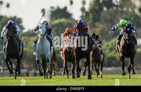 Arcadia, CA, USA. 9th Mar, 2014. Winning Prize, ridden by Corey Nakatani wins the Franke E. Kilroe Mile Stakes (G!) - Stock Photo