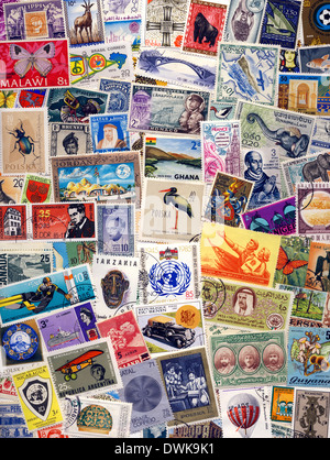 Collection of Postage Stamps of the World - Philately - Stock Photo