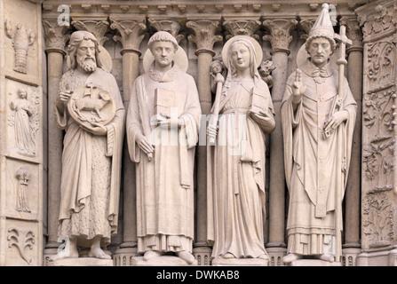 Architectural details of Cathedral Notre Dame de Paris - Stock Photo