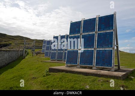 Solar panel array at Ushenish Lighthouse, South Uist, Western Isles, Scotland, UK - Stock Photo