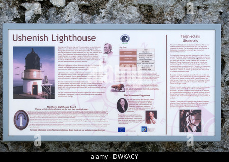 Information sign at Ushenish Lighthouse, South Uist, Western Isles, Scotland, UK - Stock Photo
