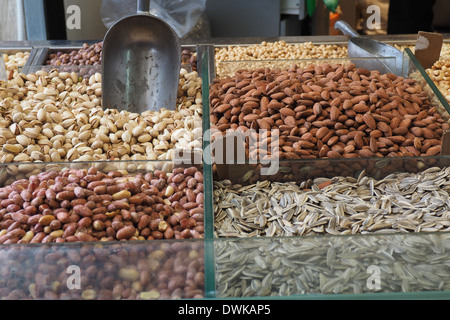 nuts and seed on display at Mehane Yehuda Market, Jaffa St, Jerusalem, Israel - Stock Photo