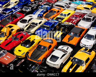 Sports cars, colorful die-cast models closeup - Stock Photo