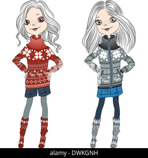 fashion hipster girls in knitted sweaters with Norwegian seamless pattern - Stock Photo
