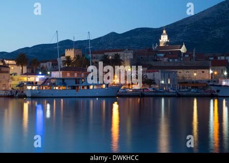 Korcula Town, evening, Korcula Island, Croatia, Europe - Stock Photo