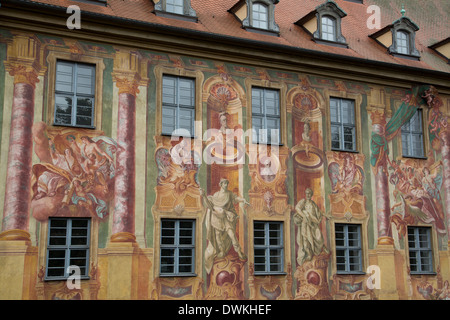 Murals on the Old City Hall (Altes Rathaus), re-built in 1467, painted by Johann Anwandar around 1756, Bamberg, - Stock Photo