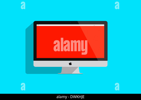 Illustration of an imac on colored background. - Stock Photo