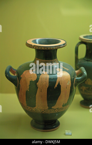 Greece, Athens, Ancient Agora of Athens, Hydria illustrating three women. Manner of the Kleophon Painter - Stock Photo