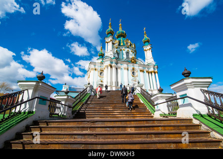 St. Andrews church in Kiev, Ukraine, Europe - Stock Photo
