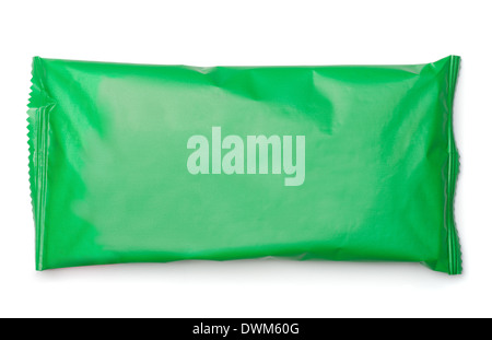 Green food package bag isolated on white - Stock Photo