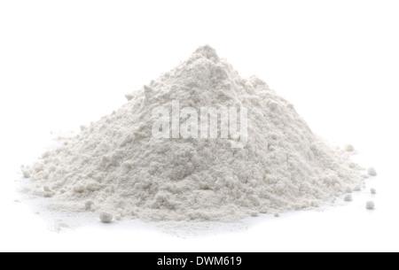 Pile of wheat flour isolated on white - Stock Photo