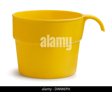 Yellow plastic cup isolated on white - Stock Photo