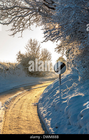 The evening light of a snow covered country lane in Norfolk, UK. - Stock Photo