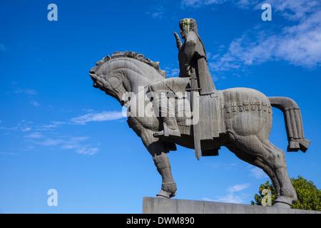 Avlabari, Equestrian Statue of King Vakhtang Gorgasali beside Metekhi Church, Tbilisi, Georgia, Caucasus, Central - Stock Photo