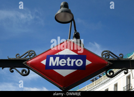 Sign on Metro station in central Madrid, Spain - Stock Photo