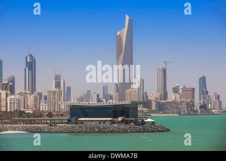Arabian Gulf and city skyline, Salmiya, Kuwait City, Kuwait, Middle East - Stock Photo