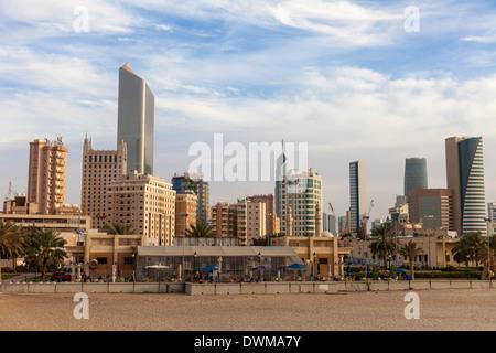 Looking towards city center buildings from a beach on Arabian Gulf Street, Sharq, Kuwait City, Kuwait, Middle East - Stock Photo