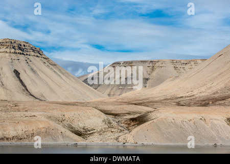 View of sedimentary layers from Cape Hay, Bylot Island, Nunavut, Canada, North America - Stock Photo