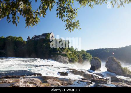 Rhine Falls (Rheinfall) waterfalls with Schloss Laufen castle, Neuhausen near Schaffhausen, Canton Schaffhausen, - Stock Photo