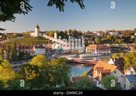 View over the old town of Schaffhausen with Munot fortress, Canton Schaffhausen, Switzerland, Europe - Stock Photo