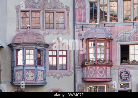 Facades of the town houses at the Rathausplatz square, Stein am Rhein, Canton Schaffhausen, Switzerland, Europe - Stock Photo